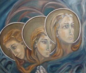 VINTAGE SURREALIST RELIGIOUS PORTRAIT OIL PAINTING