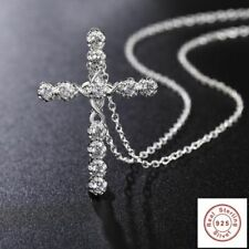 925 Sterling Silver Plated Crystal Cross Necklace + Bag  Womens Jesus Crucifix