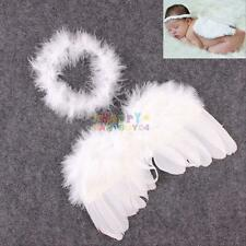 Angel Wings Infant Baby Boy Girl Feather Photography Photo Prop 0-6 Months White