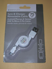 RETRACTABLE USB CHARGER SYNC CABLE FOR BLACKBERRY, NOKIA, SONY, SAMSUNG, HTC, LG