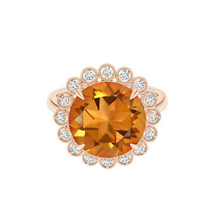 9K Rose Gold 1.25 Cts Round Citrine Gemstone Floral Halo Cocktail Ring US-6
