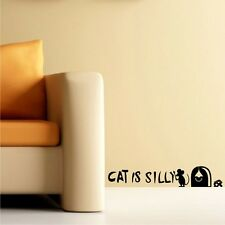 Cat Is Silly Mouse Hole Cheese Wall Decal Sticker Children Decor Vinyl Sticker