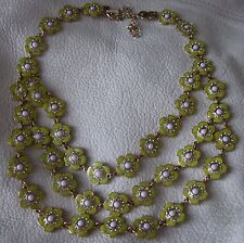 KATE SPADE TRIPLE ROW DAISY PANSEY NECKLACE + SHELL FLOWER LEATHER CORD NECKLACE