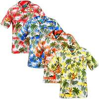 New Mens True Face Hawaiian Man Fancy Dress Beach Hula Shirt Short Sleeve Top