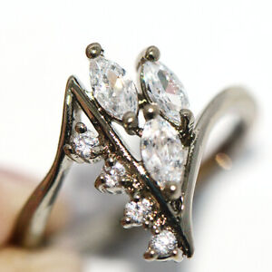 Wedding Party Fashion Ring Bridal Rings Silver Crystal Ring for Womens Size 9