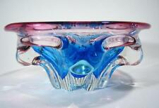 VINTAGE ITALIAN MURANO BLUE AND CRANBERRY CASED ART GLASS BOWL