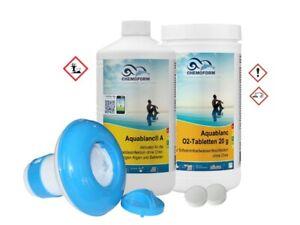 SET O2-Tabletten + Aktivator/Algizid Aktivsauerstoff-Tabs+ Schwimmer ohne Chlor