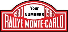 Racing Car Exterior Decal Nostalgic Monte Carlo Rally 1980 Own Number Motorsport