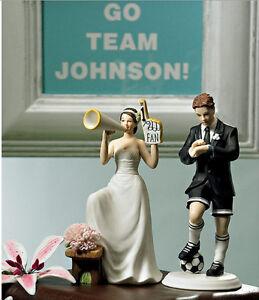 Funny Football Couple Bride And Groom Wedding Cake Top Anniversary Decor Favor