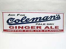 """Vtg-Style 16.5"""" x 7"""" Metal Porcelain Enamel Coleman's Pale Dry Ginger Ale Sign"""