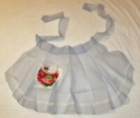 Sheer Blue Fabric Half Apron Vintage w Lace Trim & Red Flower Pocket Holiday