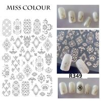 Nail Art Stickers Morocco Retro Pattern Decals Golden Manicures