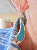 "Authentic Vintage Gold Tone ""Laurel Burch"" Dangle Pierced Earrings"