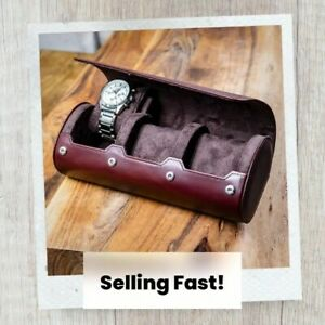 AHW TRAVEL & STORAGE WATCH BOX FOR 3 WATCHES free post STAND FUNCTION LEATHER