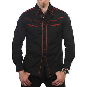 """COWBOY SHIRT size S chest 36"""" 92cm - black red piping western style BANNED"""