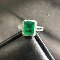 Luxus Damen Ring Silber 925 Cocktail Ring Smaragd Edlstein Hochzeit Geschenk Neu