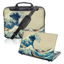 "TaylorHe 15.6"" Laptop Shoulder Bag Handles Strap & Skin Bundle Big Wave 301"