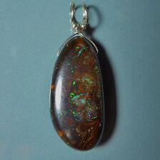 Pendentif argent Opale Boulder matrix Australie 18.2ct VIDEO Opal silver pendant