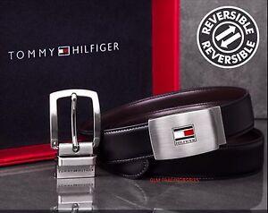 Tommy Hilfiger Men's Premium Reversible Genuine Leather Belt Dual Buckle GiftBox