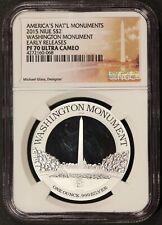 2015 Niue $2 Washington Monument 1 oz .999 Proof Silver Coin - NGC PF 70 UCAM