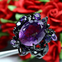 NATURAL 14 X 17mm. OVAL WITH ROUND PURPLE AMETHYST RING 925 STERLING SILVER SZ 7