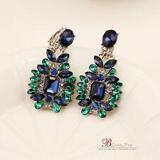 Boucles d`Oreilles Clips Argenté Pendant Goutte Vert Bleu Vintage Original J1