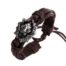 Universal Brown Leather Lion Head Animal Cuff Bracelet Fashion Jewellery