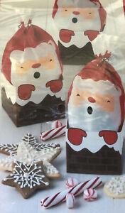 New Sweet Creations Santa Treat Bags 6 Bags Twist Ties Christmas Cookies Candy