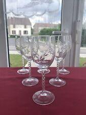 6 verres à vin rouge cristal d'Arques modèle FLEURY taille épi