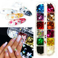 NEW 3D Laser Butterfly Sequins Holographic Nail Art Flakes Glitter Foil Decor