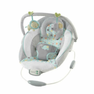 INGENUITY CRADLING MUSICAL BABY BOUNCER~GRAY, WHITE,BLUE & GREEN ELEPHANT & LION
