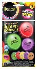 ILLOOM LED LIGHT UP BALLOONS 5 PACK HAPPY BIRTHDAY MIXED