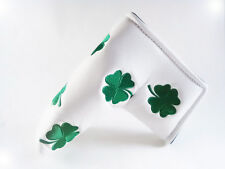 NEW WHITE GREEN SHAMROCK CLOVER LIMITED PUTTER HEAD COVER FOR SCOTTY CAMERON