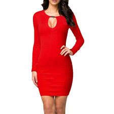 Womens Ladies Long Sleeve Casual Slim Stretch Bodycon Mini Dress Size 8-14 Red 8