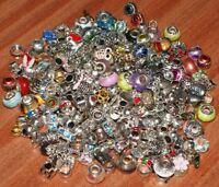 200 Wholesale Job Lot European Charms Rhinestone Enamel Silver Jewellery Making