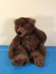 Russ Berrie TIMBER Brown Bear Grizzly 16in Long Brown Fuzzy Plush Large JUMBO!