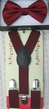 Kids Boys Girls Burgundy Adjustable Bow Tie & Burgundy Adjustable Suspenders-New