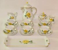 Moccaservice original Meissen Porzellan gelbe Rose für 6 Personen