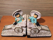 Vintage 1950's Deco Chalkware Bookends Asian Boy Girl Rickshaw Art Mid Century