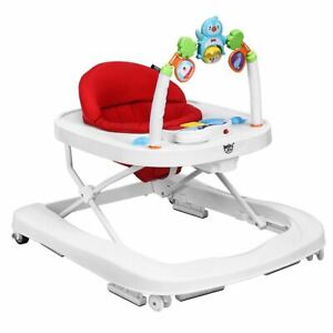 Durable 2-in-1 Foldable Baby Walker with Adjustable Heights-Red