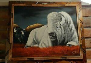 """Vintage Black Velvet Painting WHITE BUFFALO Signed Ortiz 15.5"""" x 19"""" Wood Frame"""