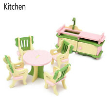 2017 Children Gift Kids Wooden Toy Furniture Doll House Set DIY Educational Toys Kitchen