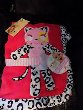 BLANKET JUNGLE CAT SPOTS LEOPARD NUBY PINK RED HEARTS 3-D LEGS ARMS ALL PURPOSE