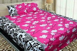 Indian 3D Microfibre Double Bed Sheets With 2 Pillowcase - Floral Print, Pink