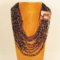 "26"" Lt Purple Black Gold Color Wood Buckle Waterfall Handmade Seed Bead Necklace"