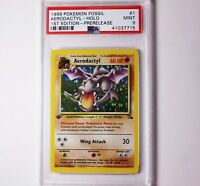 AERODACTYL 1999 Pokemon Fossil HOLO 1st First Edition #1/62 Rare MINT PSA 9 ✔️