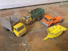 MATCHBOX REGULAR VINTAGE LOT 4 VEHICULES ETAT D'USAGE dont remorque MOTO HONDA
