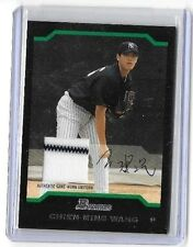 CHIEN-MING WANG 2004 BOWMAN STERLING PINSTRIPE GAME USED JERSEY
