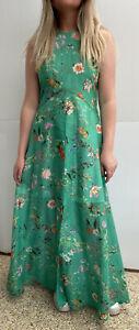 SCANLAN THEODORE Maxi Dress Size 10 Emerald Green Floral Cotton maxi Front Split
