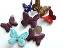 7 Mixed Bent Wing & Flat Butterfly Ceramic Appliques Embellishments Wind Chimes
